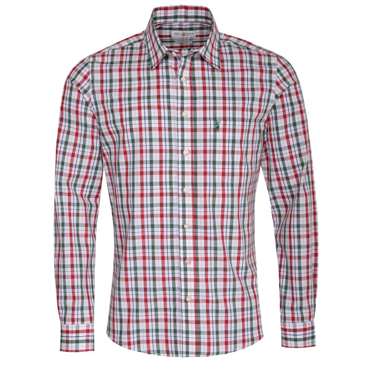 Trachtenhemd Horst Slim Fit zweifarbig in Rot und Dunkelgrün von Almsach