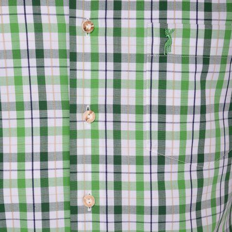 Kurzarm Trachtenhemd Gunter Slim Fit zweifarbig in Hellgrün und Dunkelgrün von Almsach