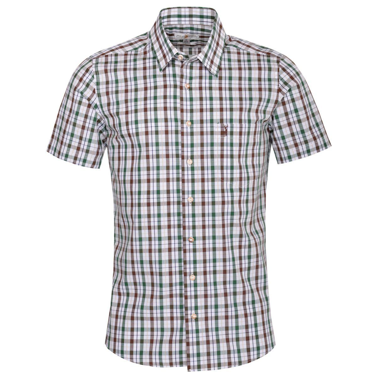 Kurzarm Trachtenhemd Gustav Slim Fit zweifarbig in Braun und Dunkelgrün von Almsach günstig online kaufen