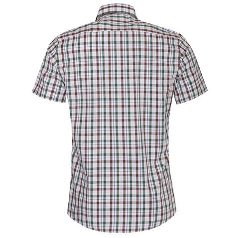 Kurzarm Trachtenhemd Gustav Slim Fit zweifarbig in Braun und Dunkelgrün von Almsach