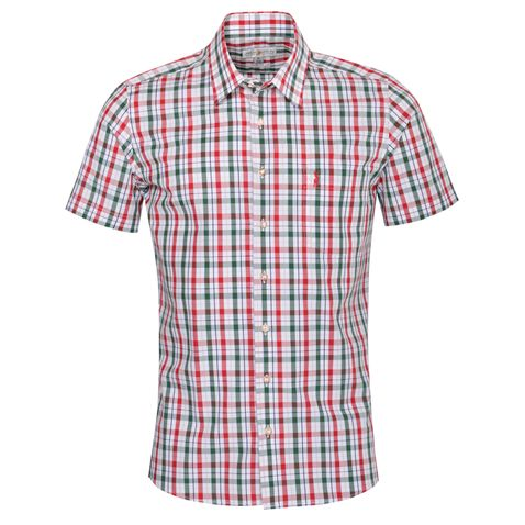 Kurzarm Trachtenhemd Hanno Regular Fit zweifarbig in Rot und Dunkelgrün von Almsach