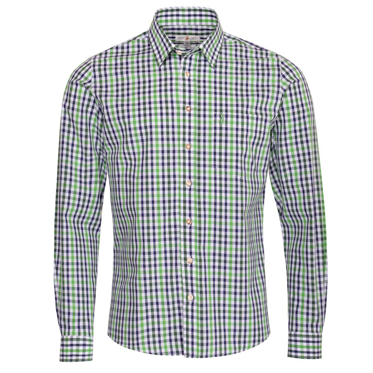 Trachtenhemd Dietrich Slim Fit zweifarbig in Hellgrün und Dunkelgrün von Almsach günstig online kaufen