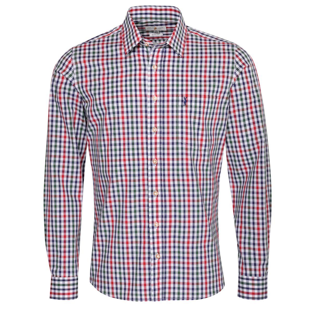 Trachtenhemd Egon Slim Fit zweifarbig in Rot und Dunkelgrün von Almsach günstig online kaufen