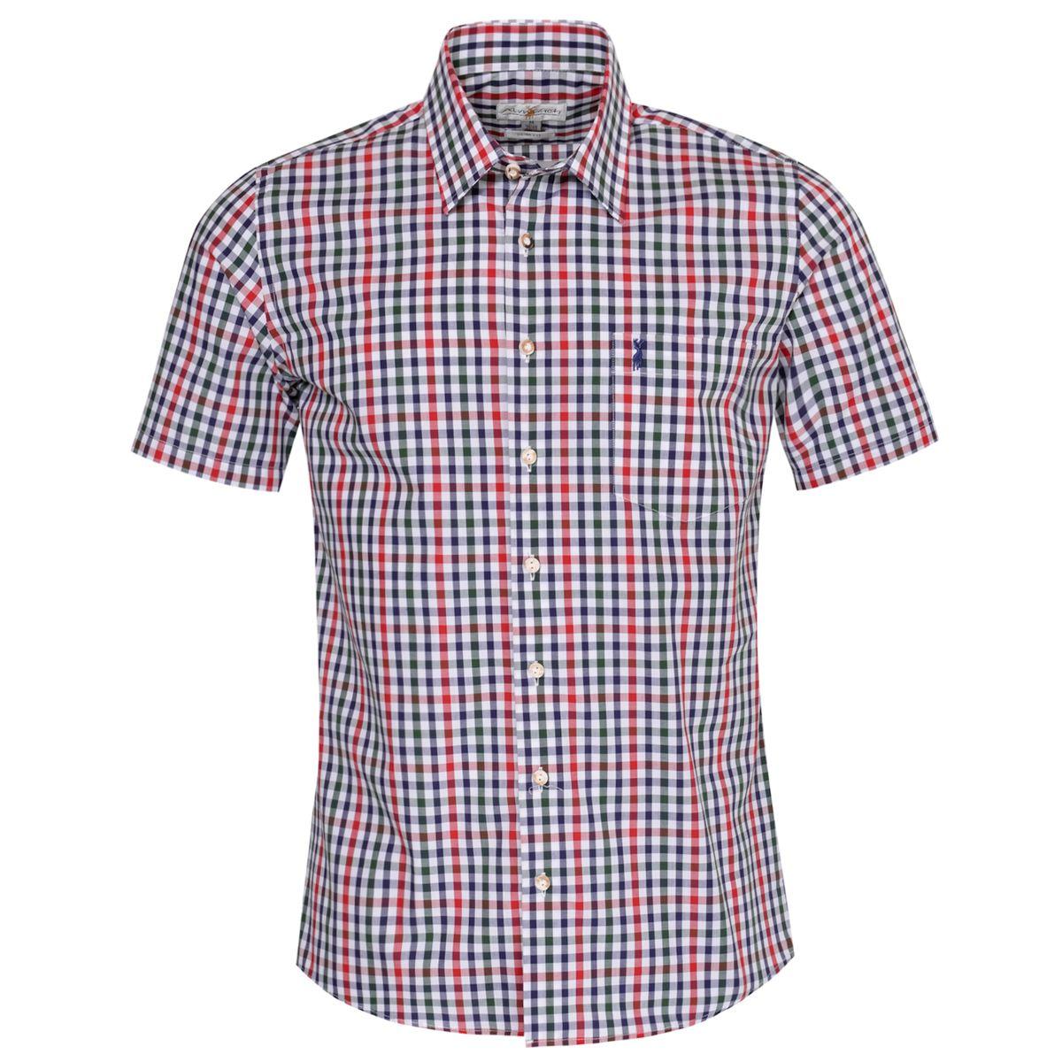 Kurzarm Trachtenhemd Erik Slim Fit zweifarbig in Rot und Dunkelgrün von Almsach günstig online kaufen
