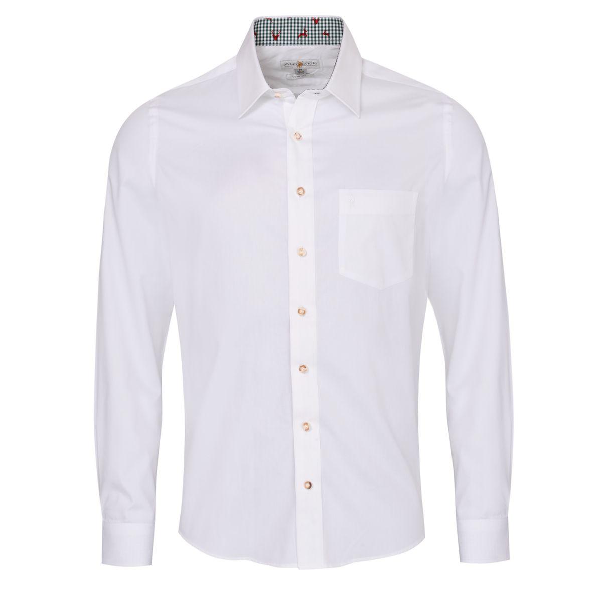 Trachtenhemd Gernot Slim Fit zweifarbig in Weiß und Dunkelgrün von Almsach günstig online kaufen