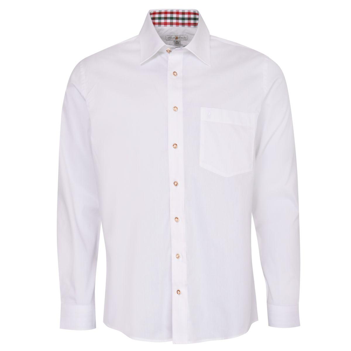 Trachtenhemd Harald Regular Fit zweifarbig in Weiß und Rot von Almsach günstig online kaufen