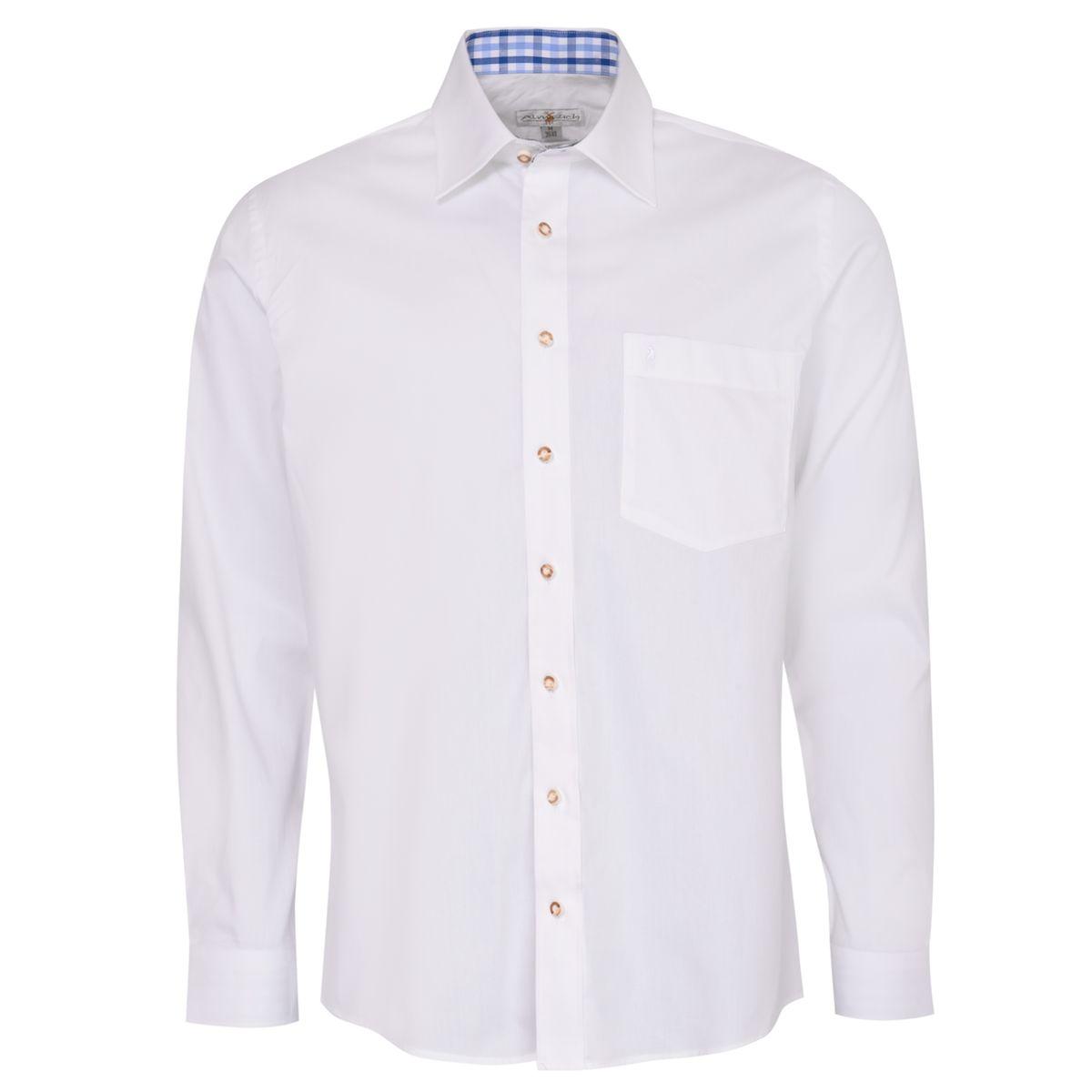 Trachtenhemd Heiko Regular Fit zweifarbig in Weiß und Blau von Almsach günstig online kaufen