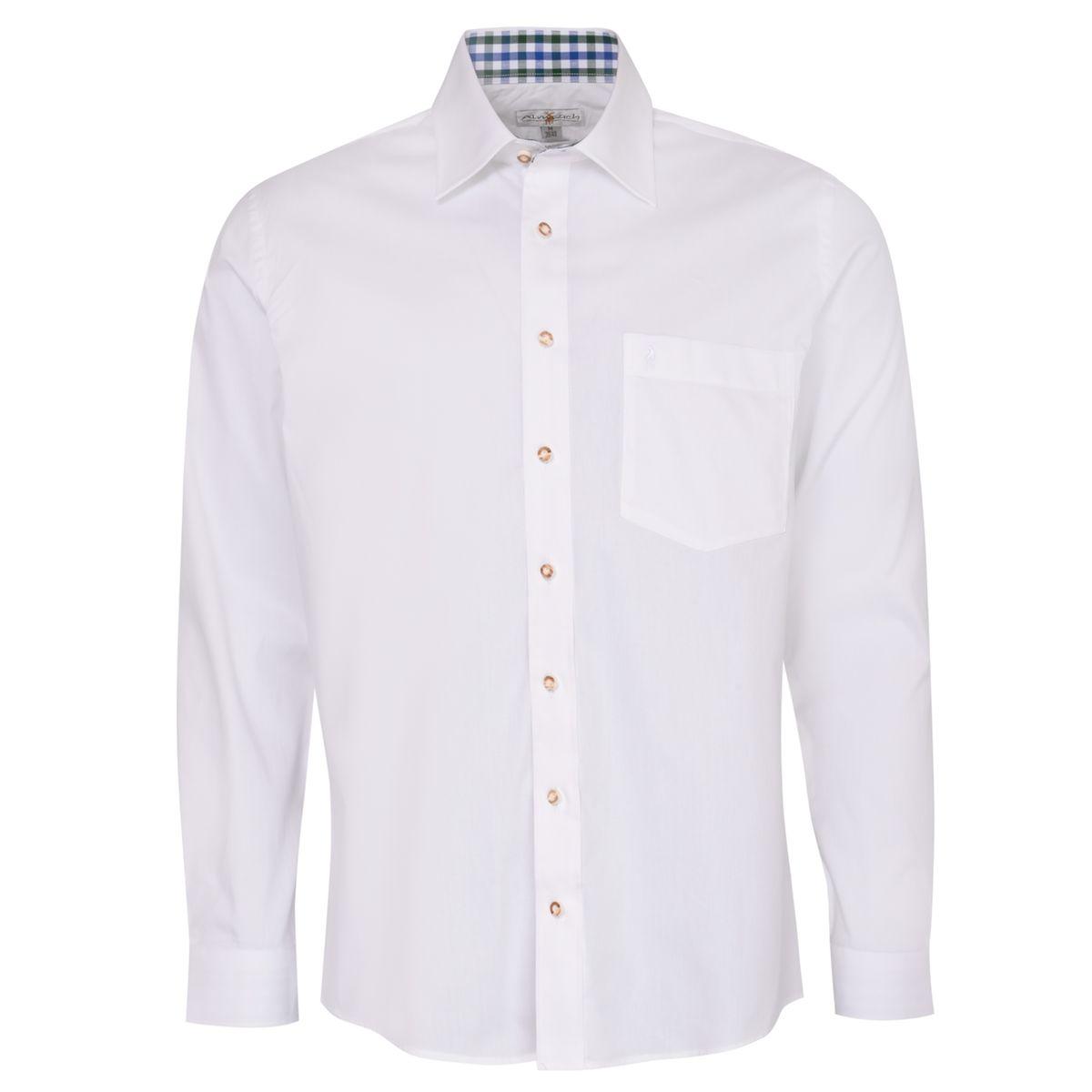 Trachtenhemd Heinz Regular Fit zweifarbig in Weiß und Dunkelgrün von Almsach günstig online kaufen