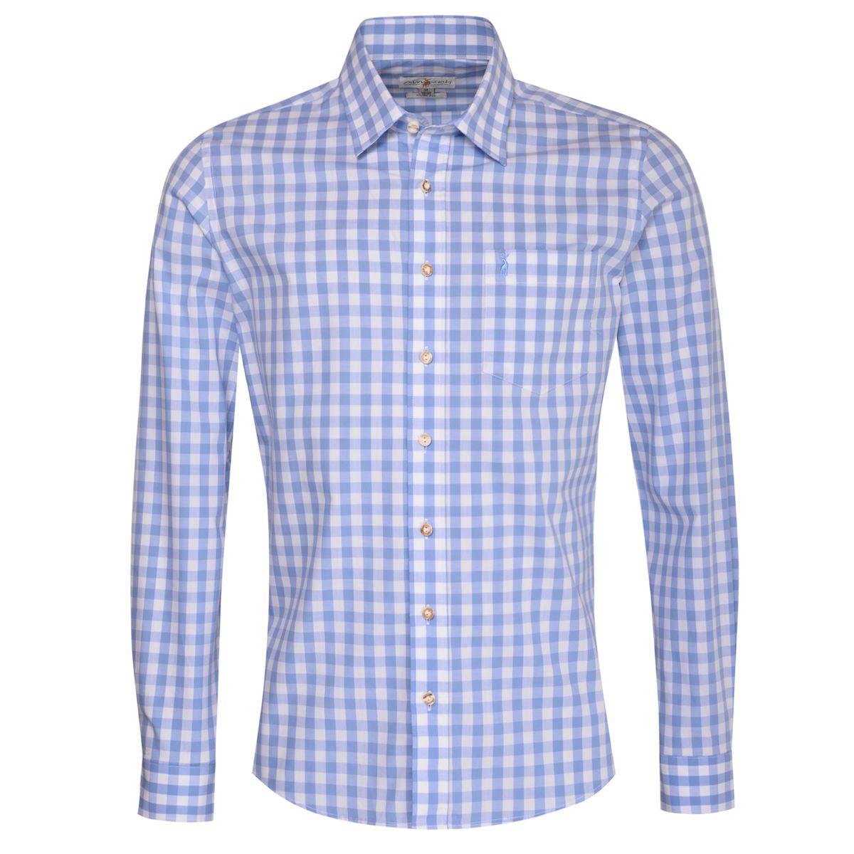 Trachtenhemd Fridolin Slim Fit in Hellblau von Almsach günstig online kaufen