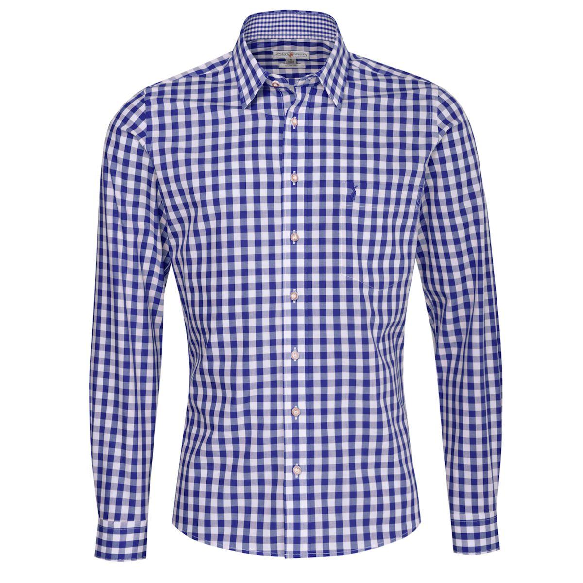 Trachtenhemd Gustel Slim Fit in Blau von Almsach günstig online kaufen
