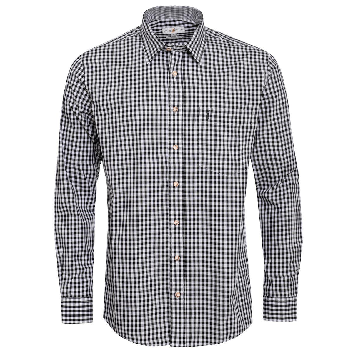 Trachtenhemd Nick Regular Fit in Schwarz von Almsach günstig online kaufen