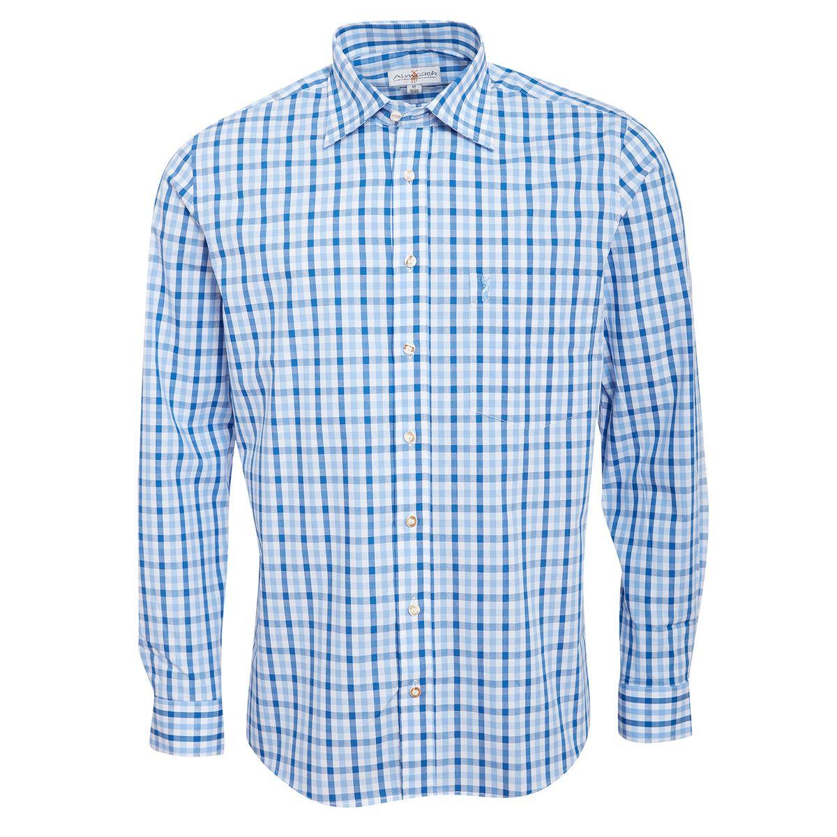 Trachtenhemd Ferdl Regular Fit zweifarbig in Hellblau und Blau von Almsach günstig online kaufen