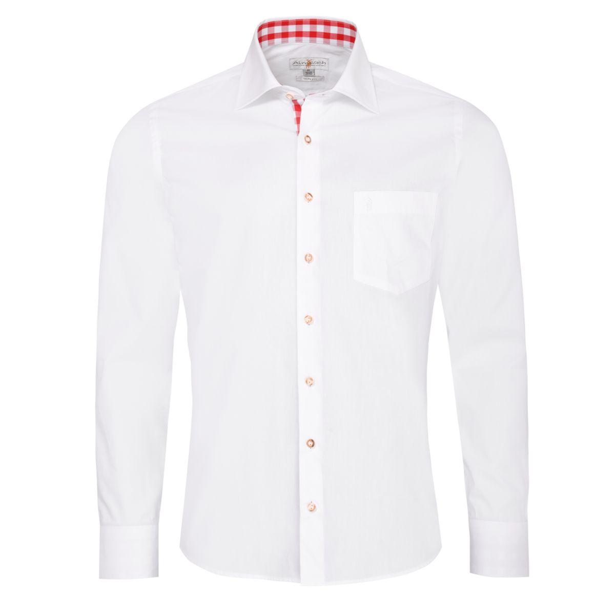 Trachtenhemd Dennis Slim Fit in Weiß und Rot von Almsach günstig online kaufen