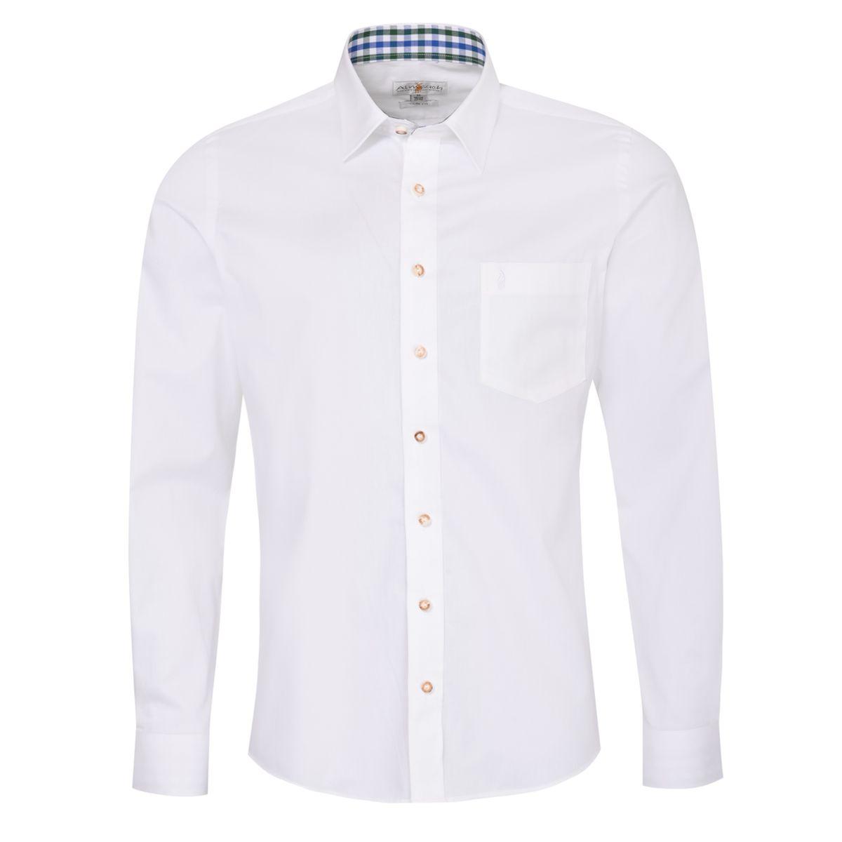Trachtenhemd Dirk Slim Fit zweifarbig in Weiß und Dunkelgrün von Almsach günstig online kaufen