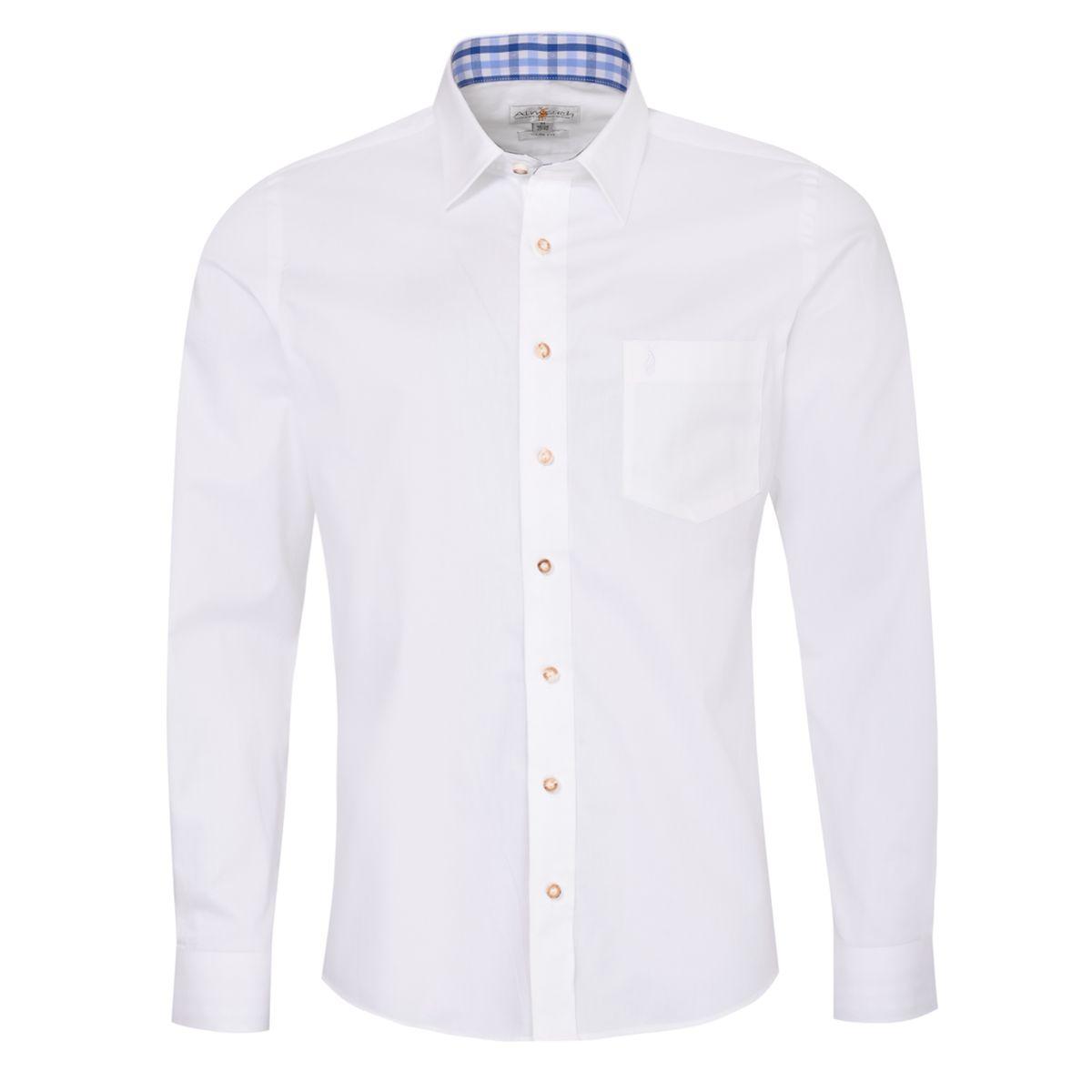 Trachtenhemd Emil Slim Fit zweifarbig in Weiß und Blau von Almsach günstig online kaufen