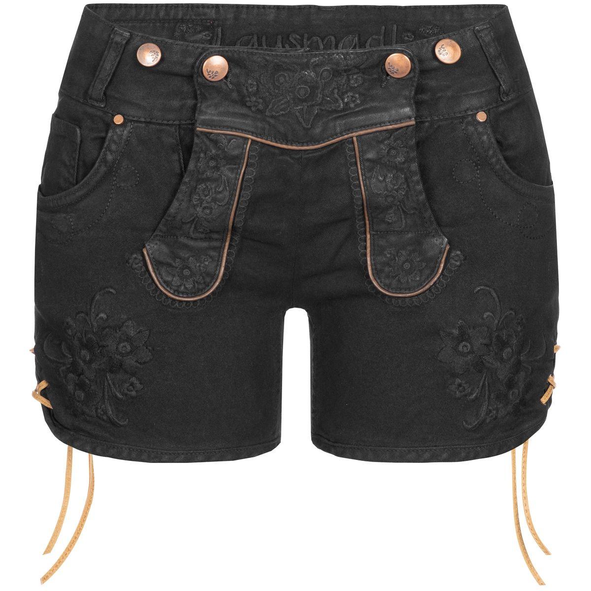 kurze Jeans-Lederhose Ovida in Schwarz von Hangowear