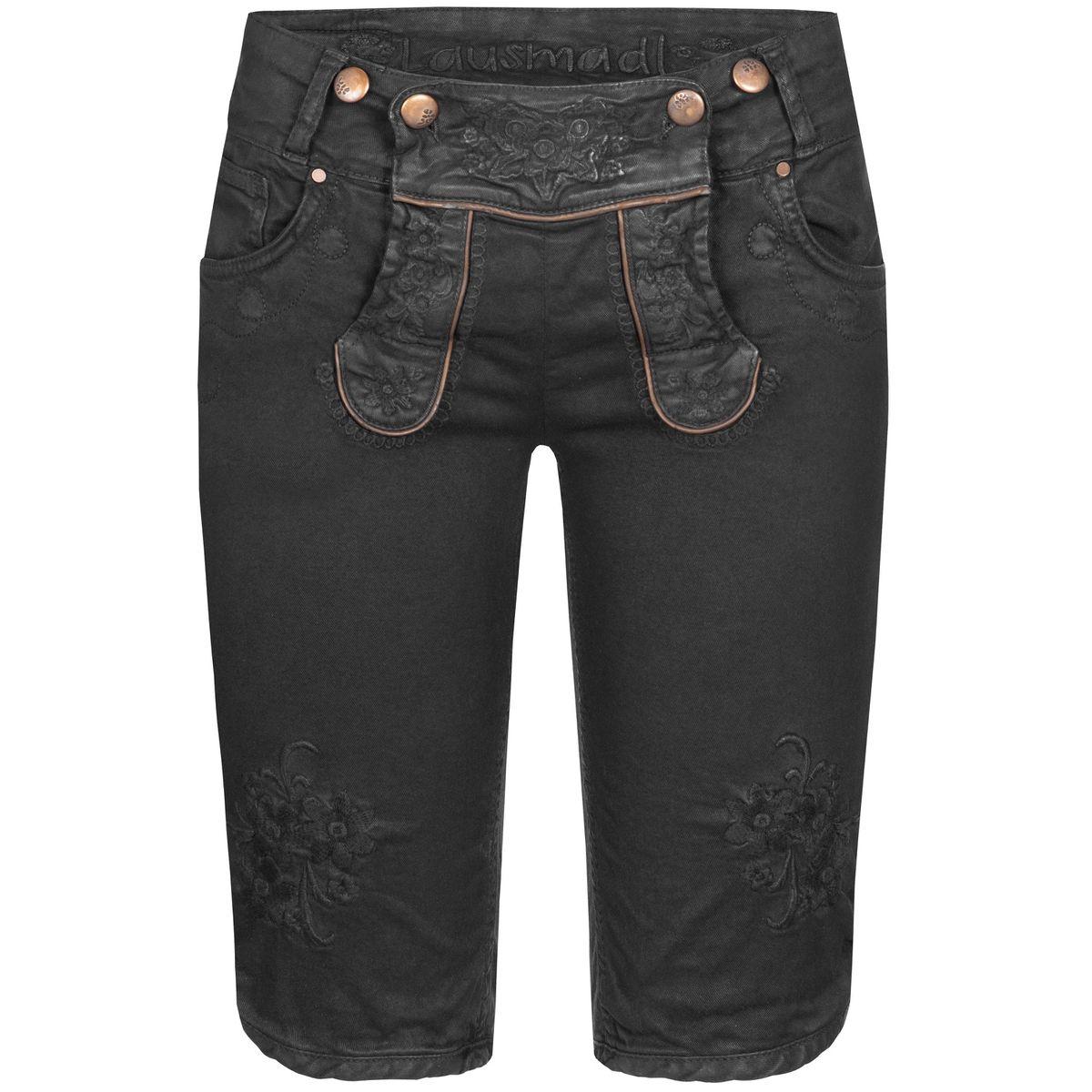 Jeans-Lederhose Bermuda Ovida in Schwarz von Hangowear günstig online kaufen