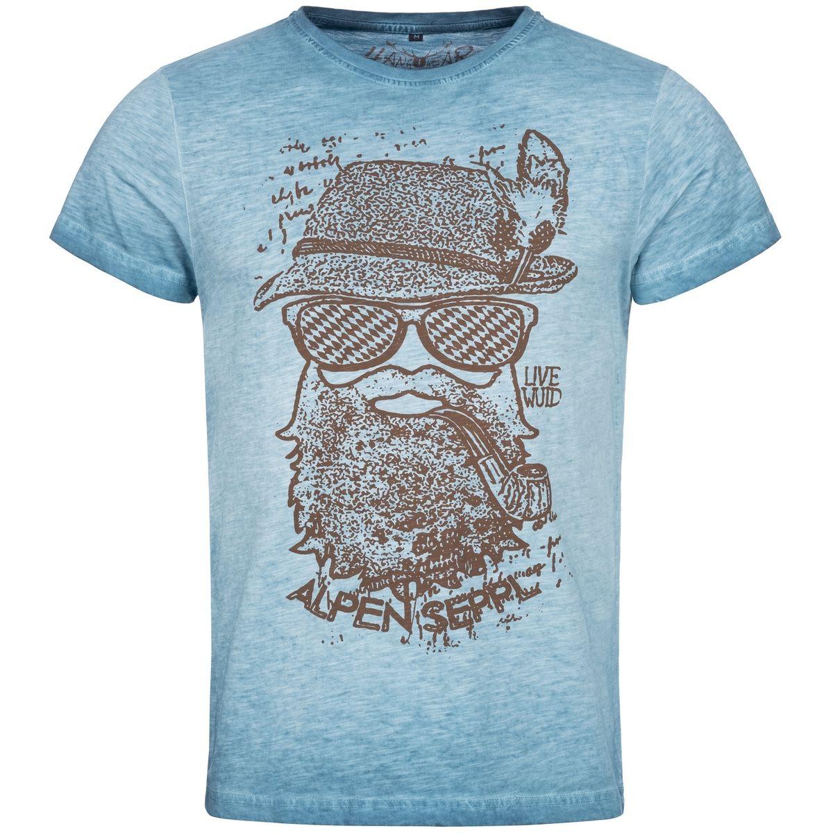 Trachtenshirt Roland in Blau von Hangowear günstig online kaufen