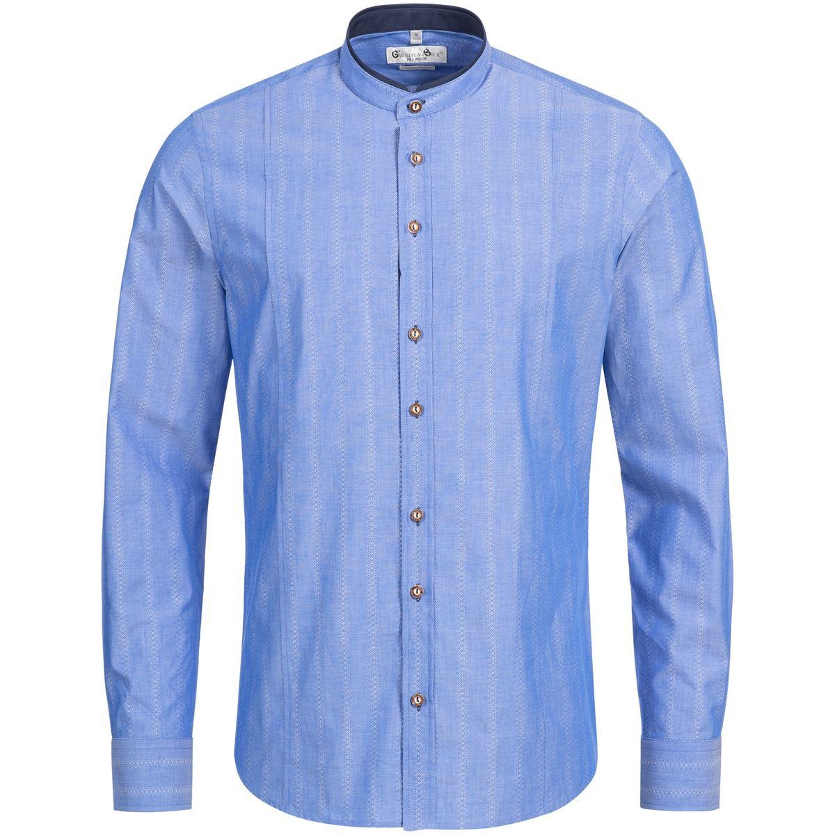 Trachtenhemd Body Fit Almsee in Blau von Gweih und Silk günstig online kaufen