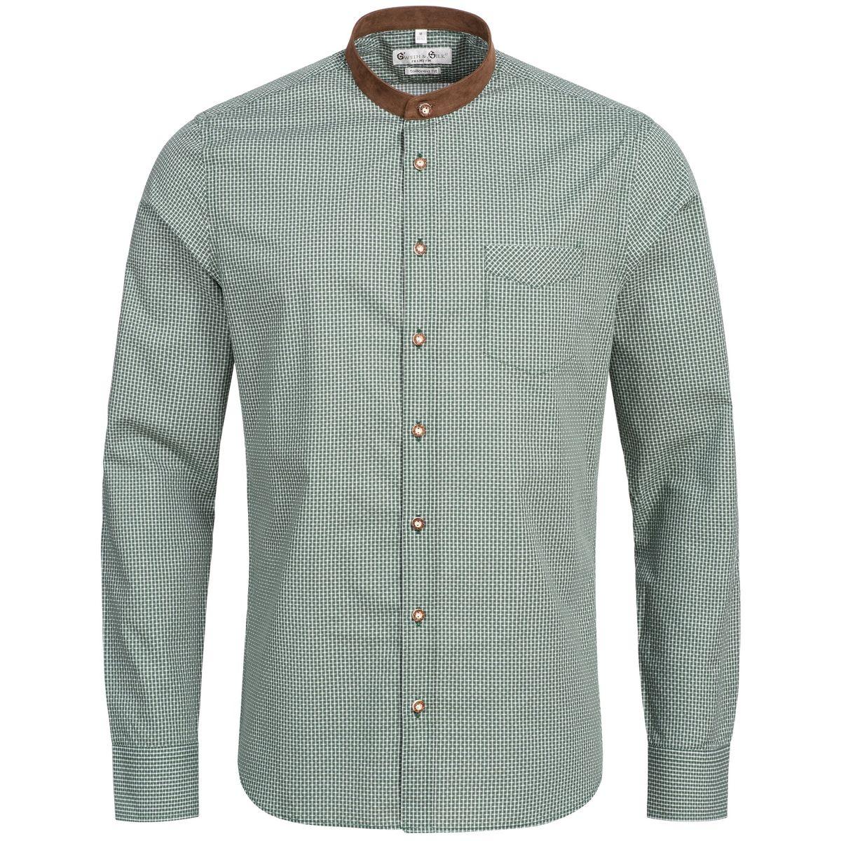 Trachtenhemd Body Fit Staffelsee in Grün von Gweih und Silk