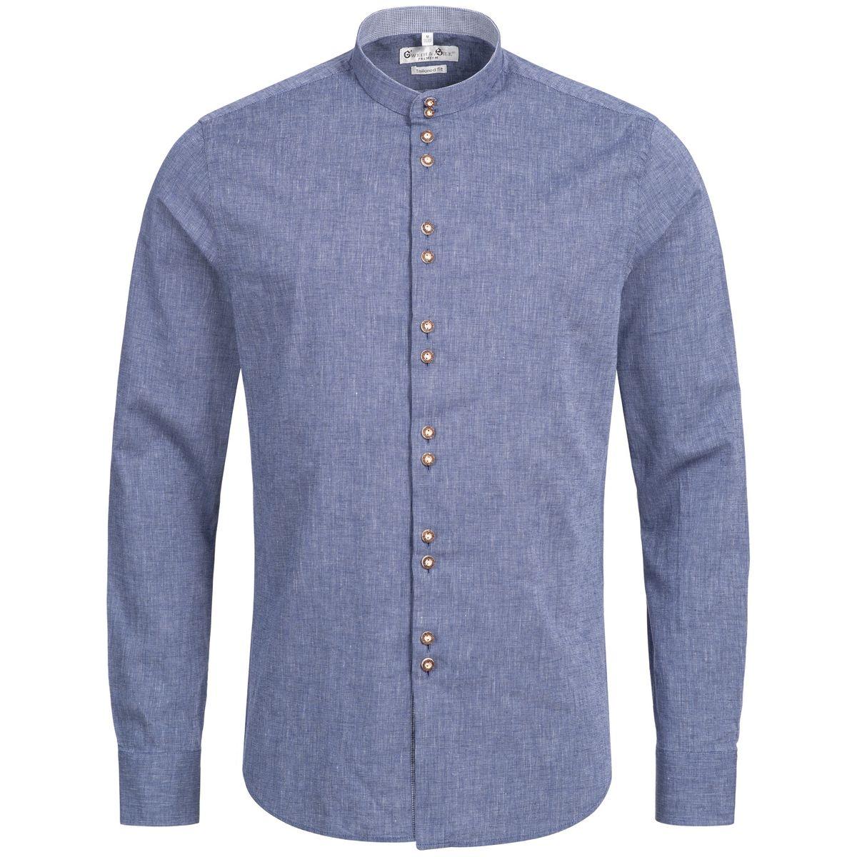 Trachtenhemd Body Fit Tegernsee in Blau von Gweih und Silk günstig online kaufen
