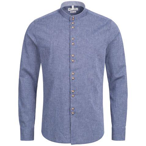 Trachtenhemd Body Fit Tegernsee in Blau von Gweih und Silk