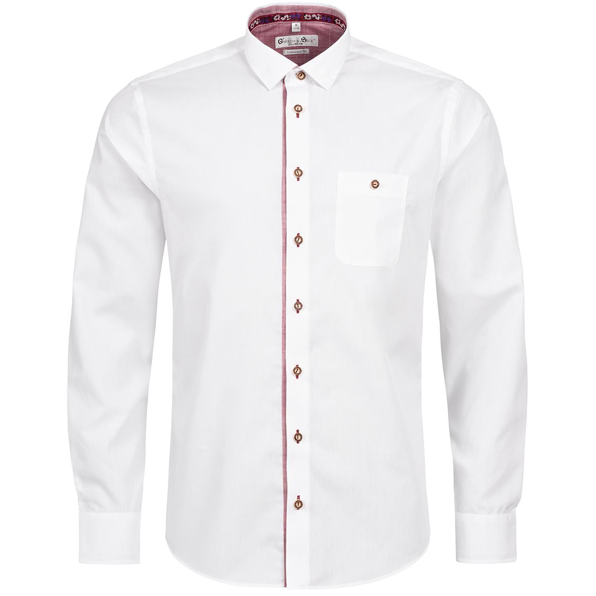 Trachtenhemd Body Fit Riessersee zweifarbig in Weiß und Rot von Gweih und Silk günstig online kaufen
