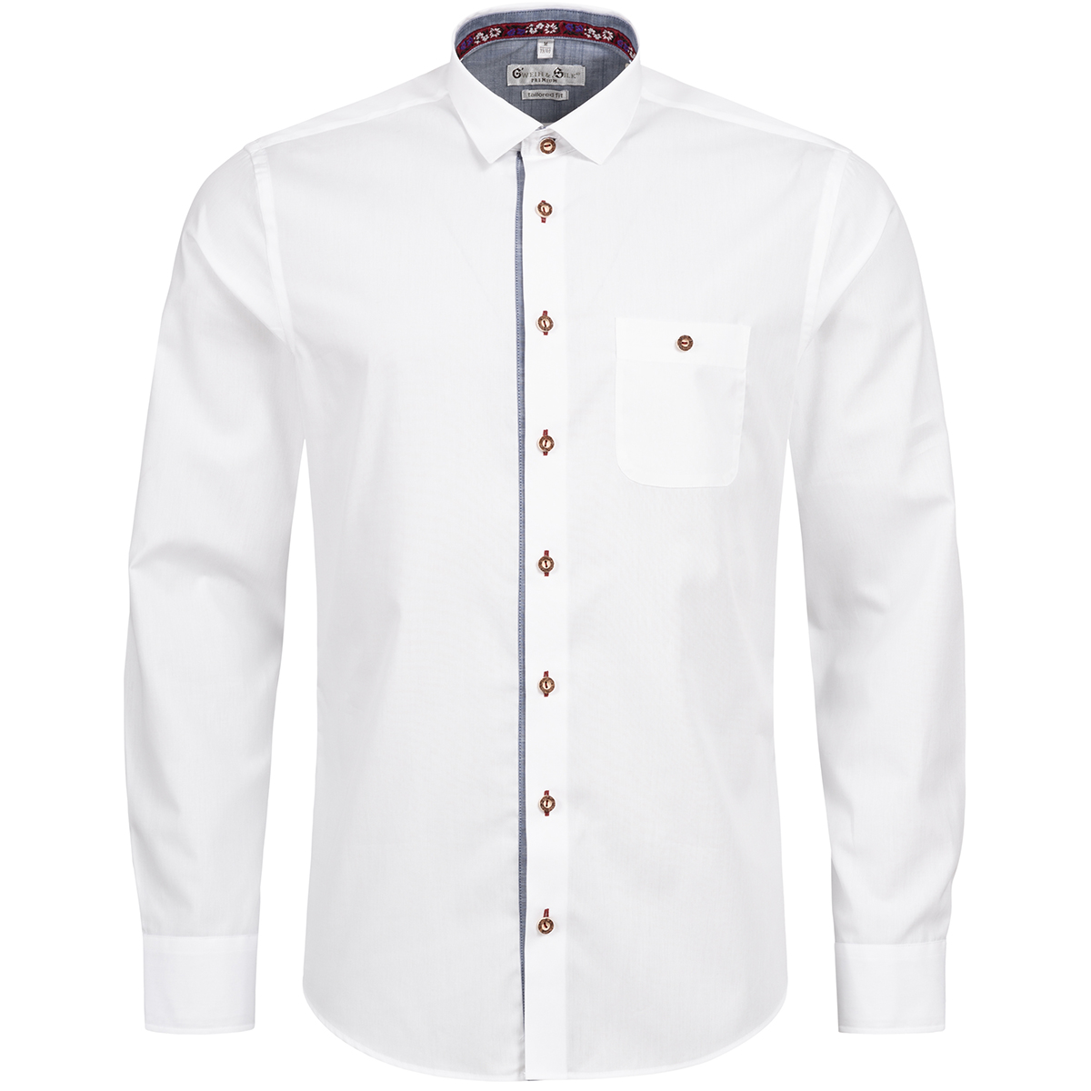 Trachtenhemd Body Fit Riessersee zweifarbig in Weiß und Blau von Gweih und Silk günstig online kaufen