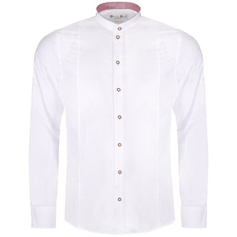 Trachtenhemd Body Fit Achersee zweifarbig in Weiß und Rot von Gweih und Silk