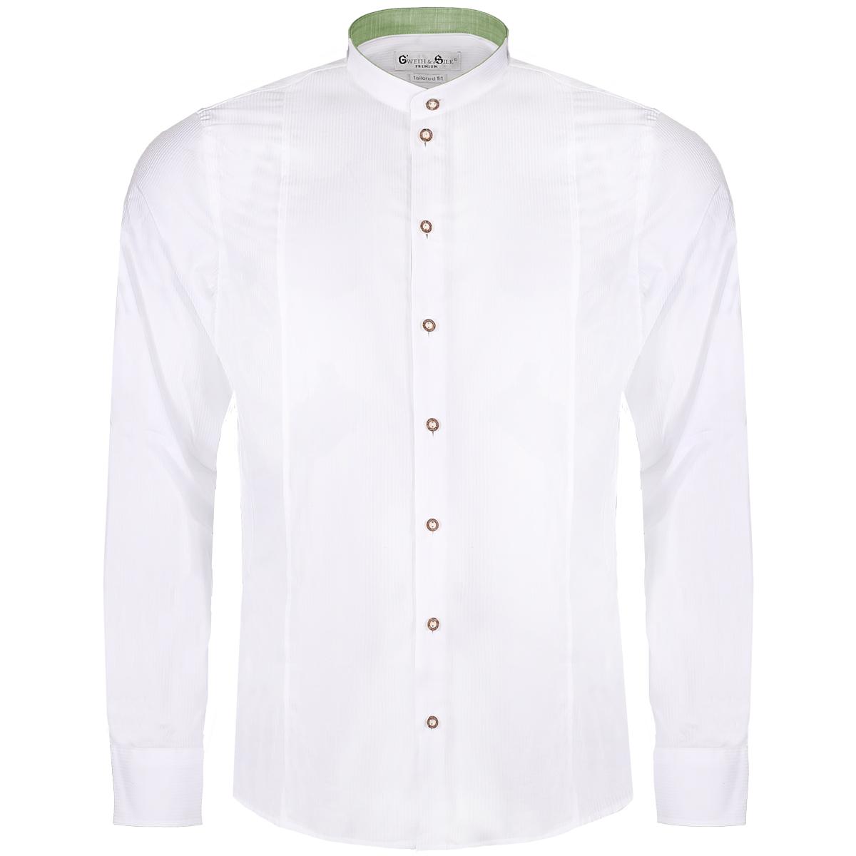 Trachtenhemd Body Fit Achersee zweifarbig in Weiß und Grün von Gweih und Silk günstig online kaufen
