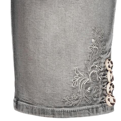Jeans-Lederhose Bermuda Franziska in Grau von Marjo Trachten