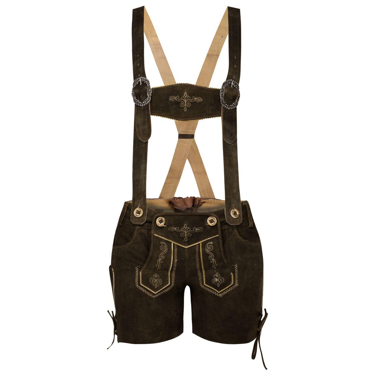 kurze Lederhose in Braun von Marjo Trachten günstig online kaufen