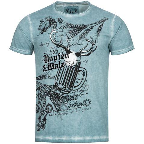 MarJo Trachten Herren Trachten-Mode Trachtenpolo Alpenj/äger in Blau traditionell