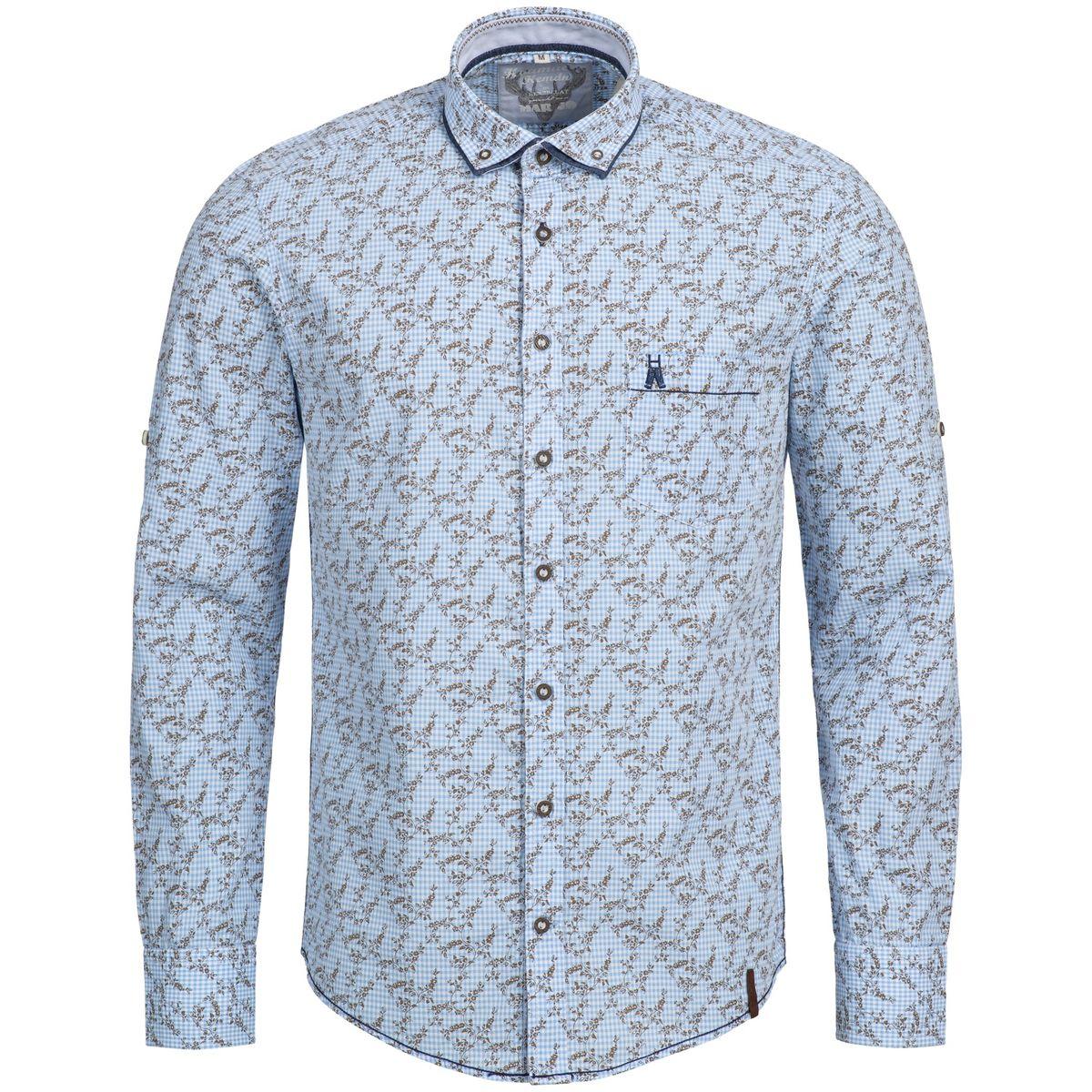 Trachtenhemd Slimline Farald in Blau von Marjo Trachten
