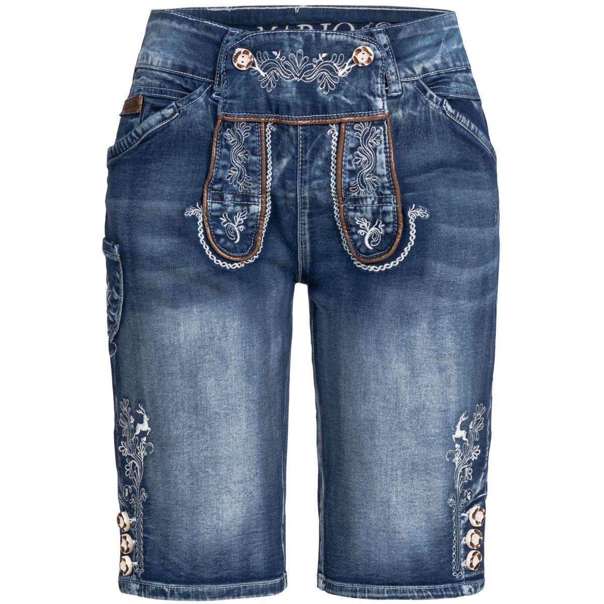 Jeans-Lederhose Gustl Short in Blau von Marjo Trachten