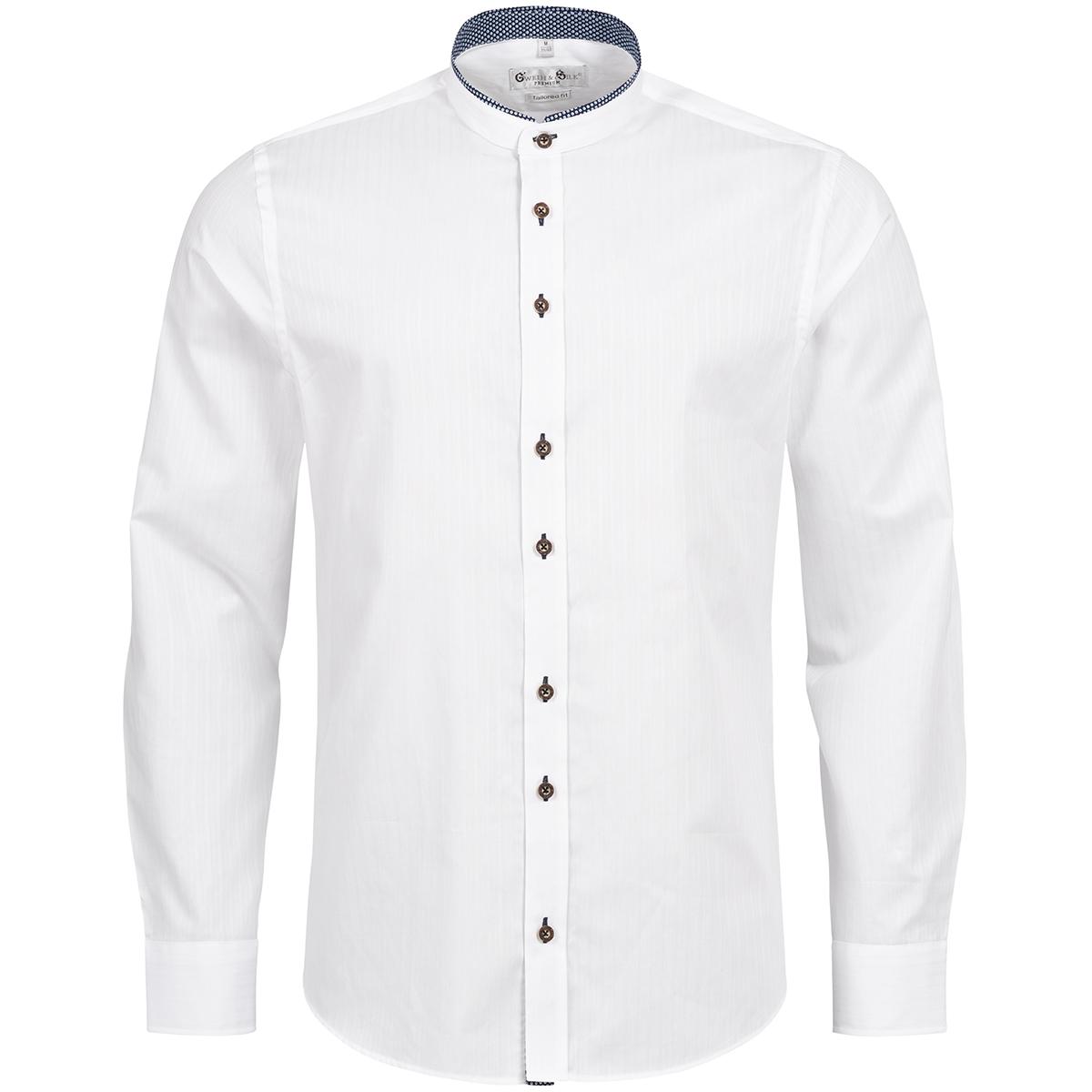 Trachtenhemd Body Fit Ludwig zweifarbig in Weiß und Blau von Gweih und Silk günstig online kaufen