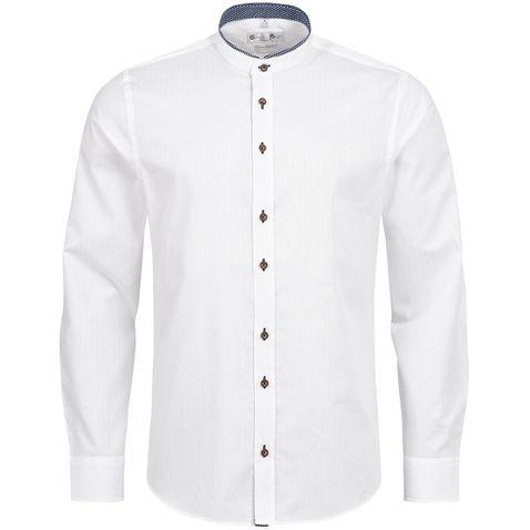 Trachtenhemd Body Fit Ludwig zweifarbig in Weiß und Blau von Gweih und Silk