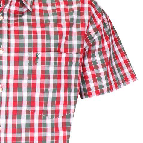 Kurzarm Trachtenhemd Henry Regular Fit zweifarbig in Rot und Dunkelgrün von Almsach