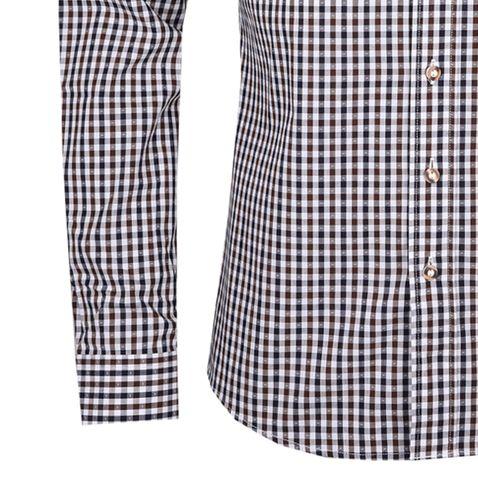 Trachtenhemd Matheo Slim Fit zweifarbig in Blau und Braun von Almsach