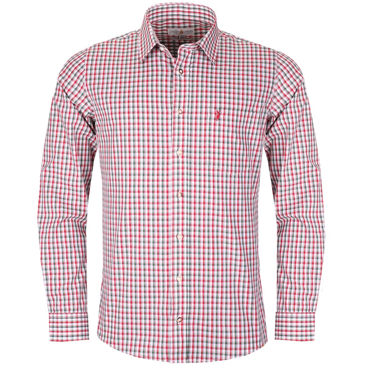 Trachtenhemd Marc Slim Fit zweifarbig in Rot und Dunkelgrün von Almsach günstig online kaufen