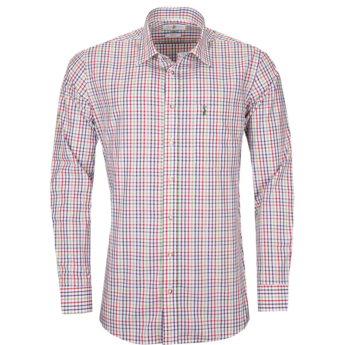 Trachtenhemd Mario Regular Fit mehrfarbig in Dunkelgrün, Rot und Hellgrün von Almsach günstig online kaufen