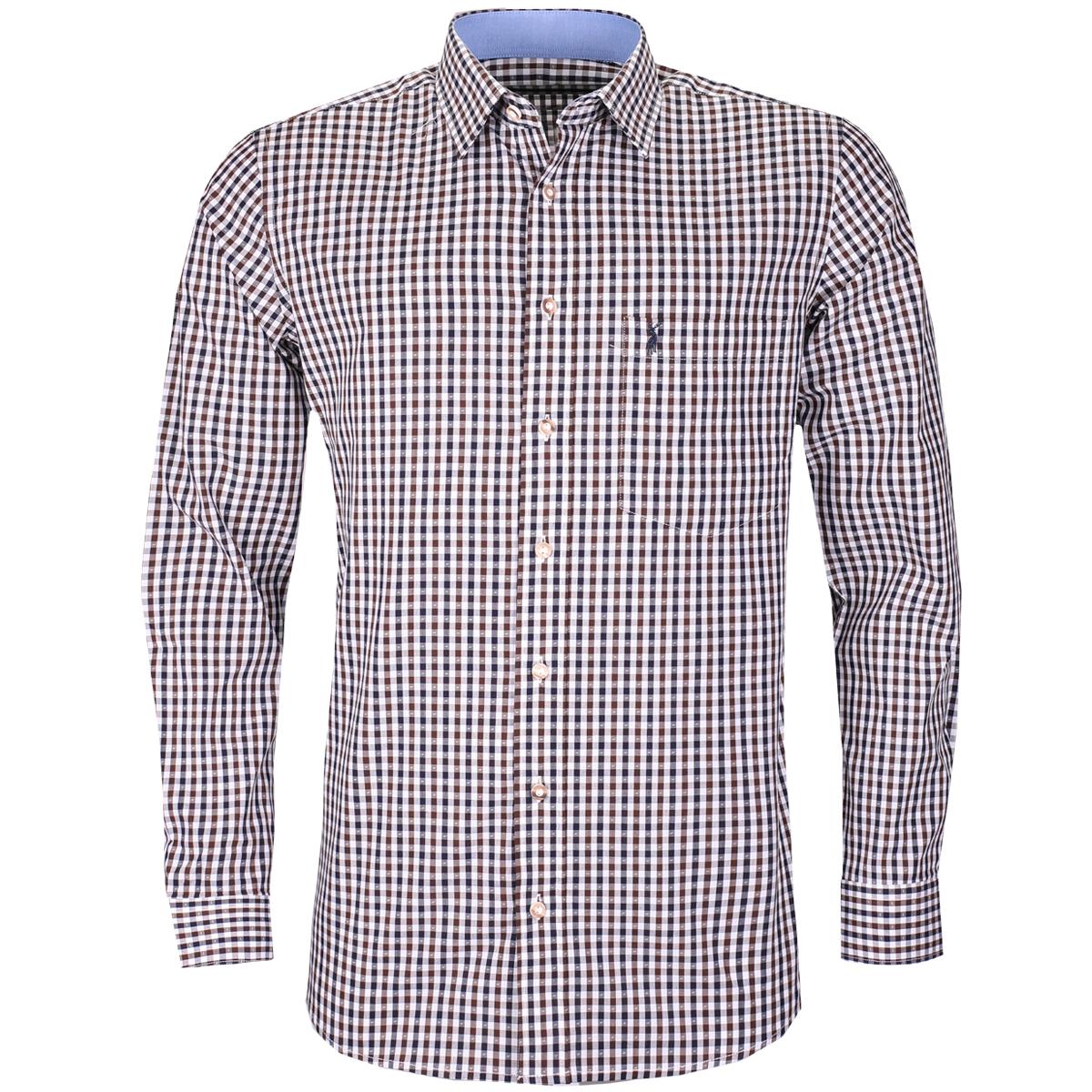Trachtenhemd Tino Regular Fit zweifarbig in Blau und Braun von Almsach günstig online kaufen