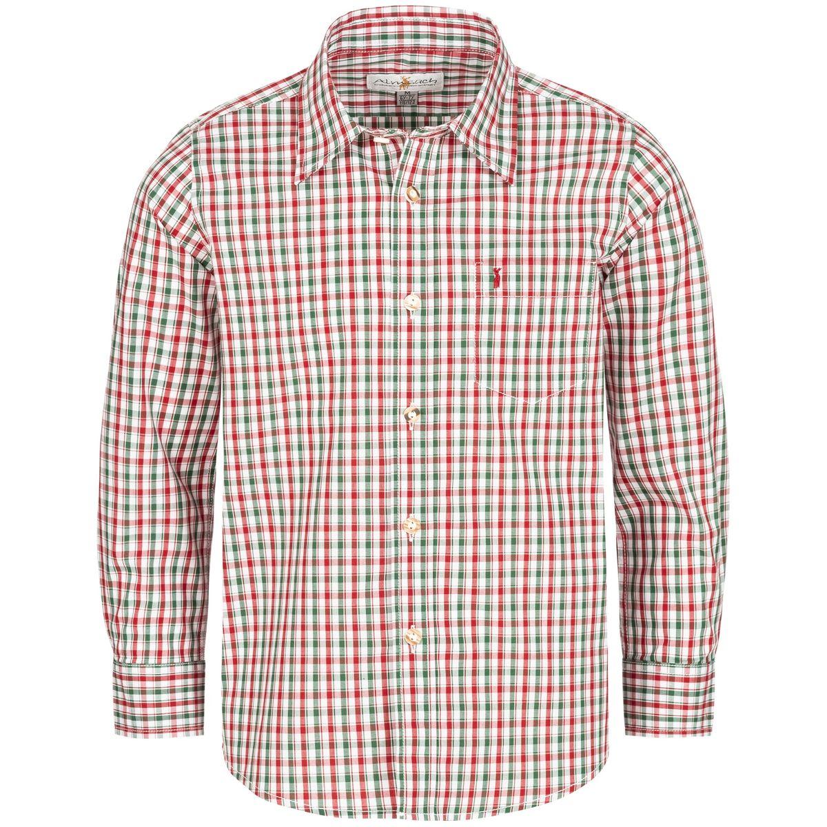 Trachtenhemd für Kinder zweifarbig in Rot und Dunkelgrün von Almsach günstig online kaufen