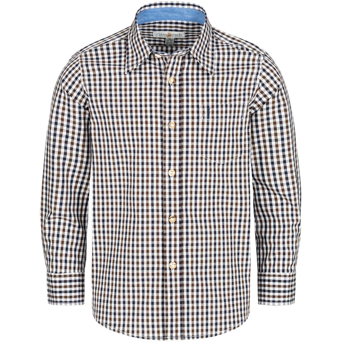 Trachtenhemd für Kinder zweifarbig in Blau und Braun von Almsach günstig online kaufen