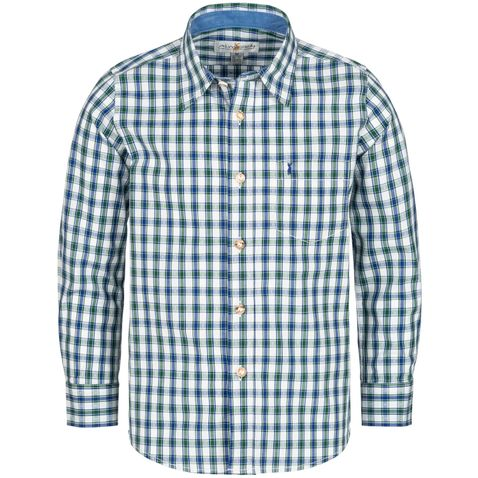 Trachtenhemd für Kinder zweifarbig in Blau und Dunkelgrün von Almsach