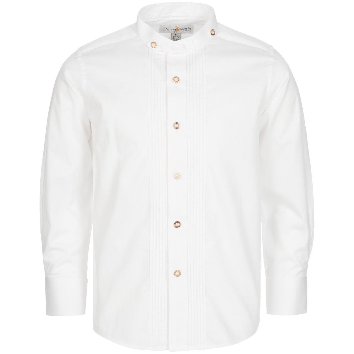 Trachtenhemd für Kinder mit Stehkragen in Weiß von Almsach günstig online kaufen