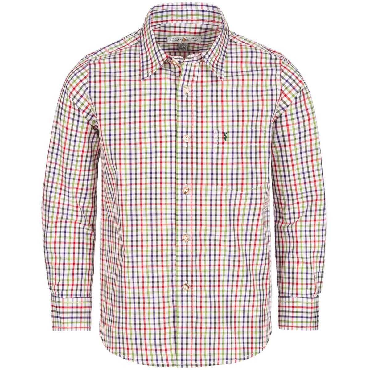 Trachtenhemd für Kinder mehrfarbig in Dunkelgrün, Rot und Hellgrün von Almsach günstig online kaufen