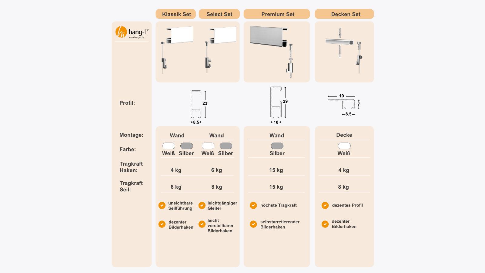 Bilderschiene Galerieschiene Premium Komplett-Set 6m silber