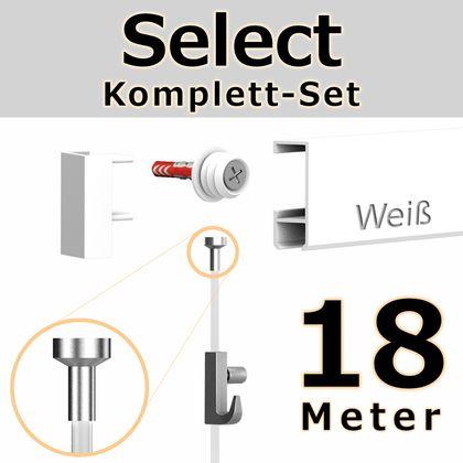 Bilderschienen Set 18 m in Weiß - Select - Bilderschiene inklusive Zubehör