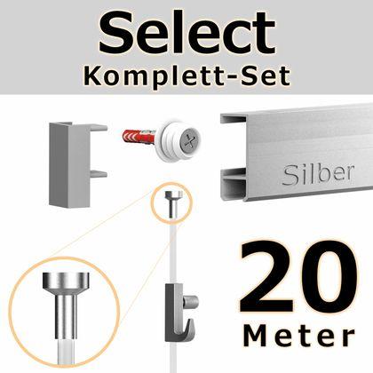 Bilderschienen Set 20 m in SILBER - Select - Bilderschiene inklusive Zubehör
